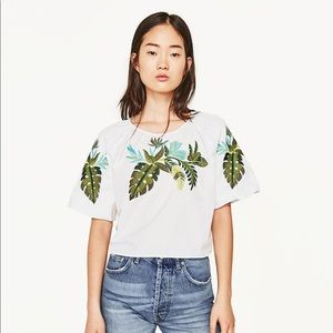 Zara Embroidered Leaves Blouse